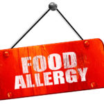 food allergy, 3D rendering, vintage old red sign